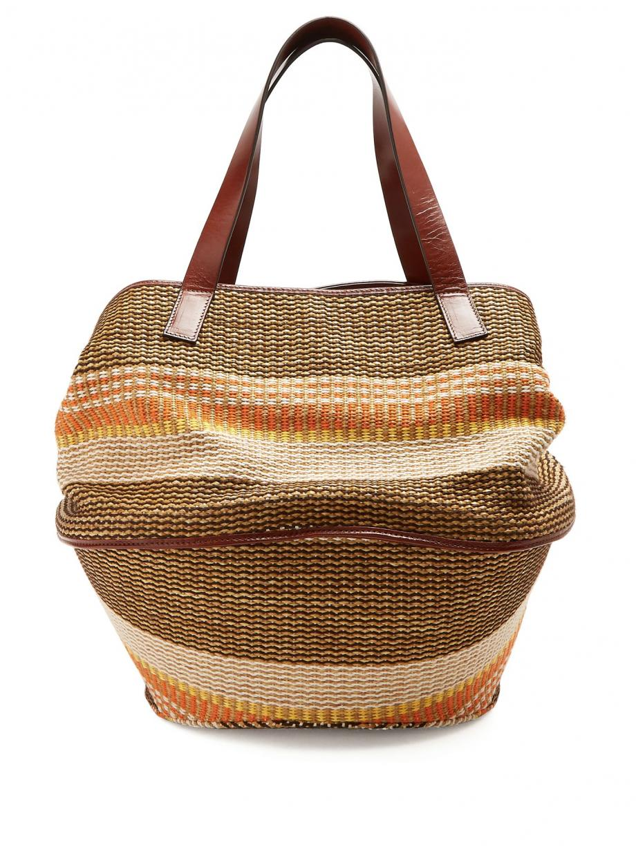 Red BeachBags – Weekend Max Mara Womens Party raffia and leather basket bag Multicoloured