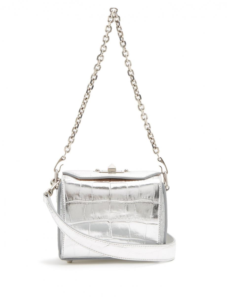 Silver Shoulder – Alexander McQueen Womens Box Bag 16 crocodile-effect leather shoulder bag Silver