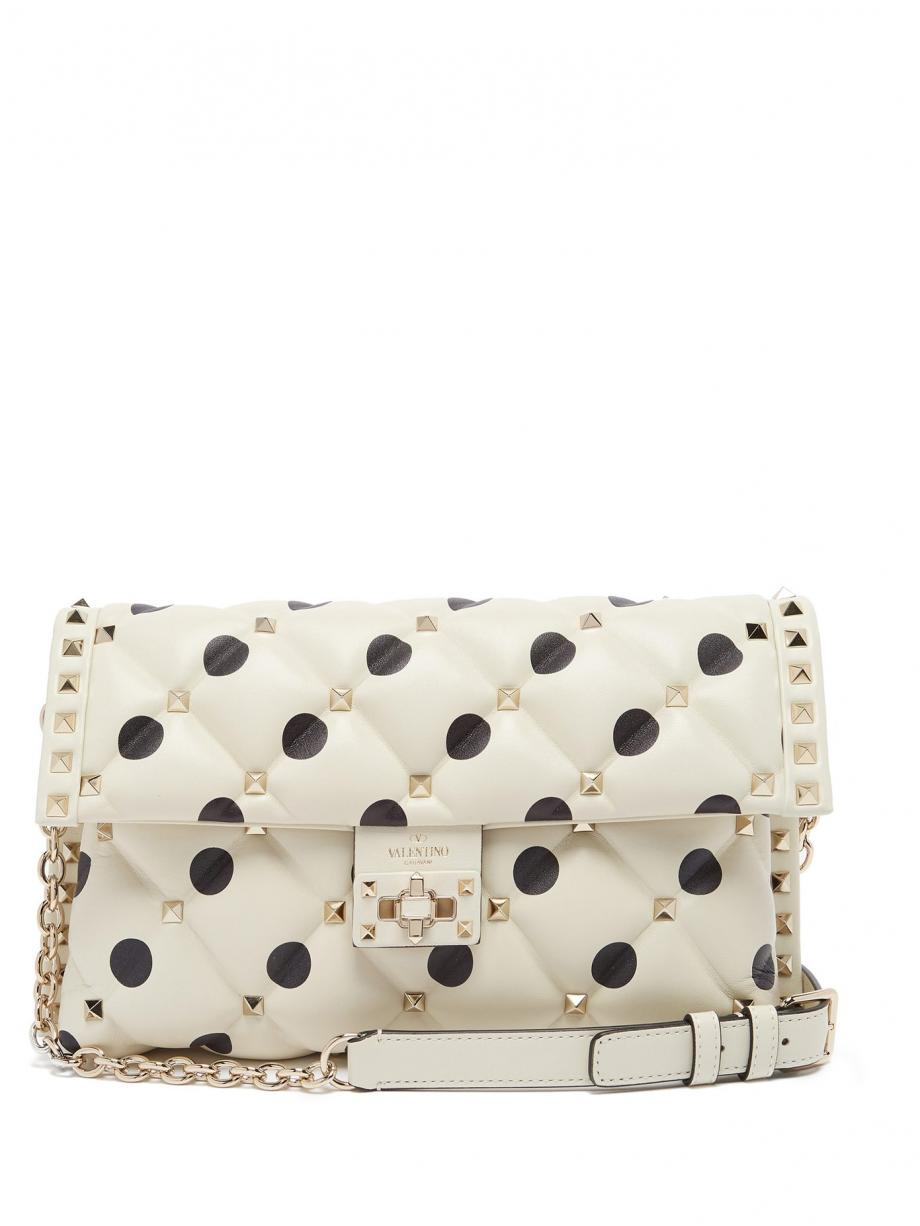 White Clutch – Valentino Womens Candystud quilted-leather clutch White