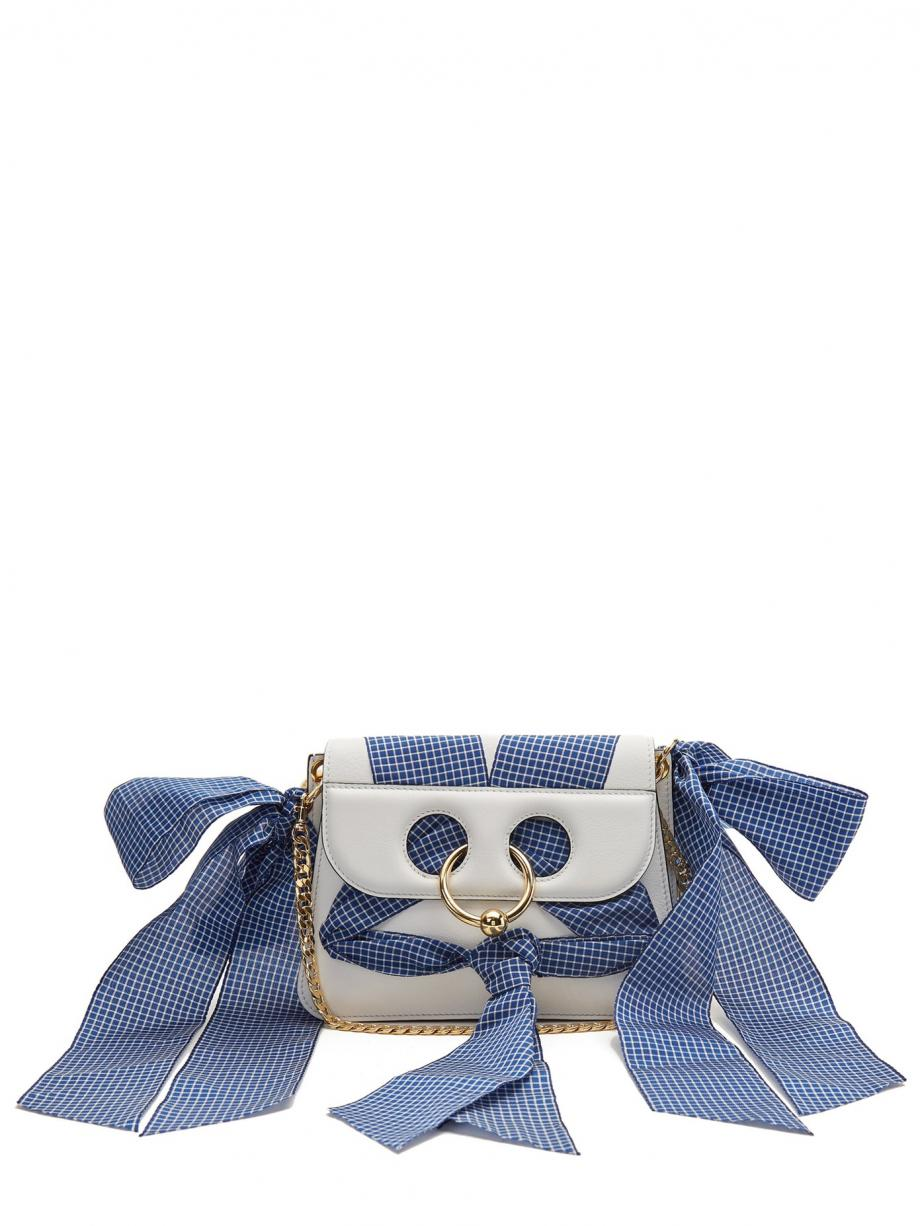 White Crossbody – JW Anderson Womens Pierce mini ribbon-trimmed leather cross-body bag White