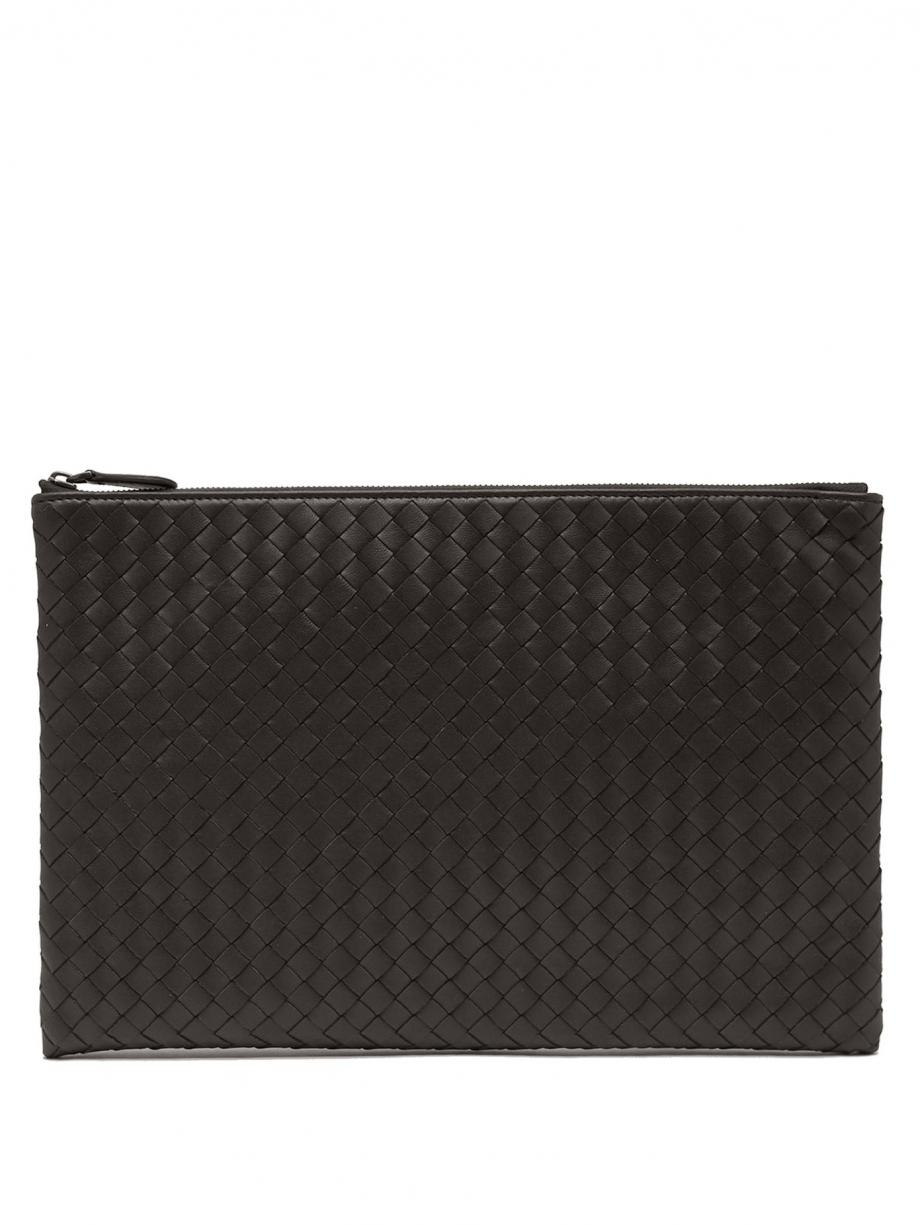 Black Clutch – Bottega Veneta Womens Intrecciato leather pouch Black