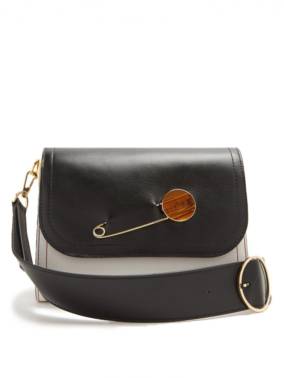 Black Shoulder – Hillier Bartley Womens Pin-detail leather shoulder bag Black