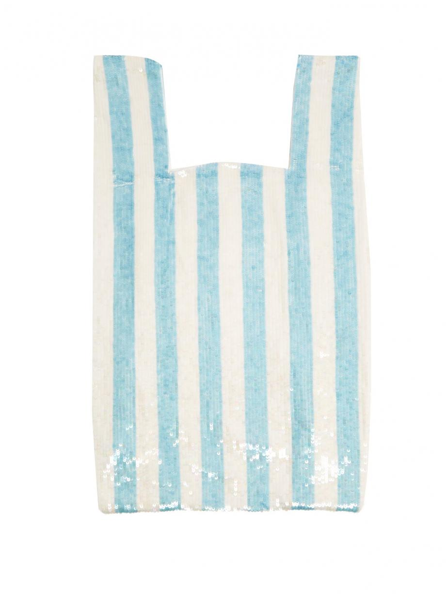 Blue Clutch – Ashish Womens Striped sequin-embellished cotton bag Baby-blue