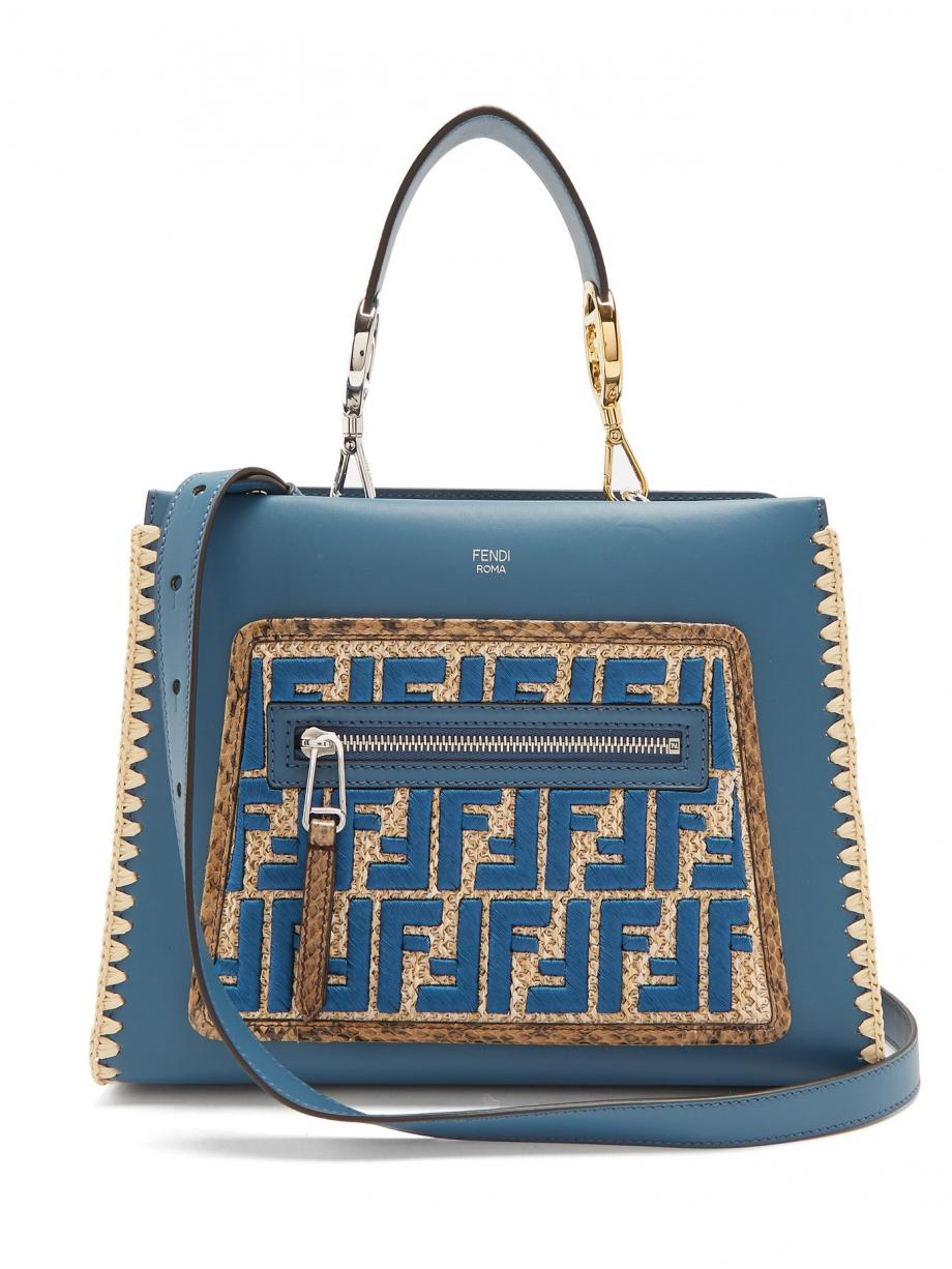 Blue ToteTopHandleBags – Fendi Womens Runaway small snakeskin-trimmed leather bag Dark teal-blue