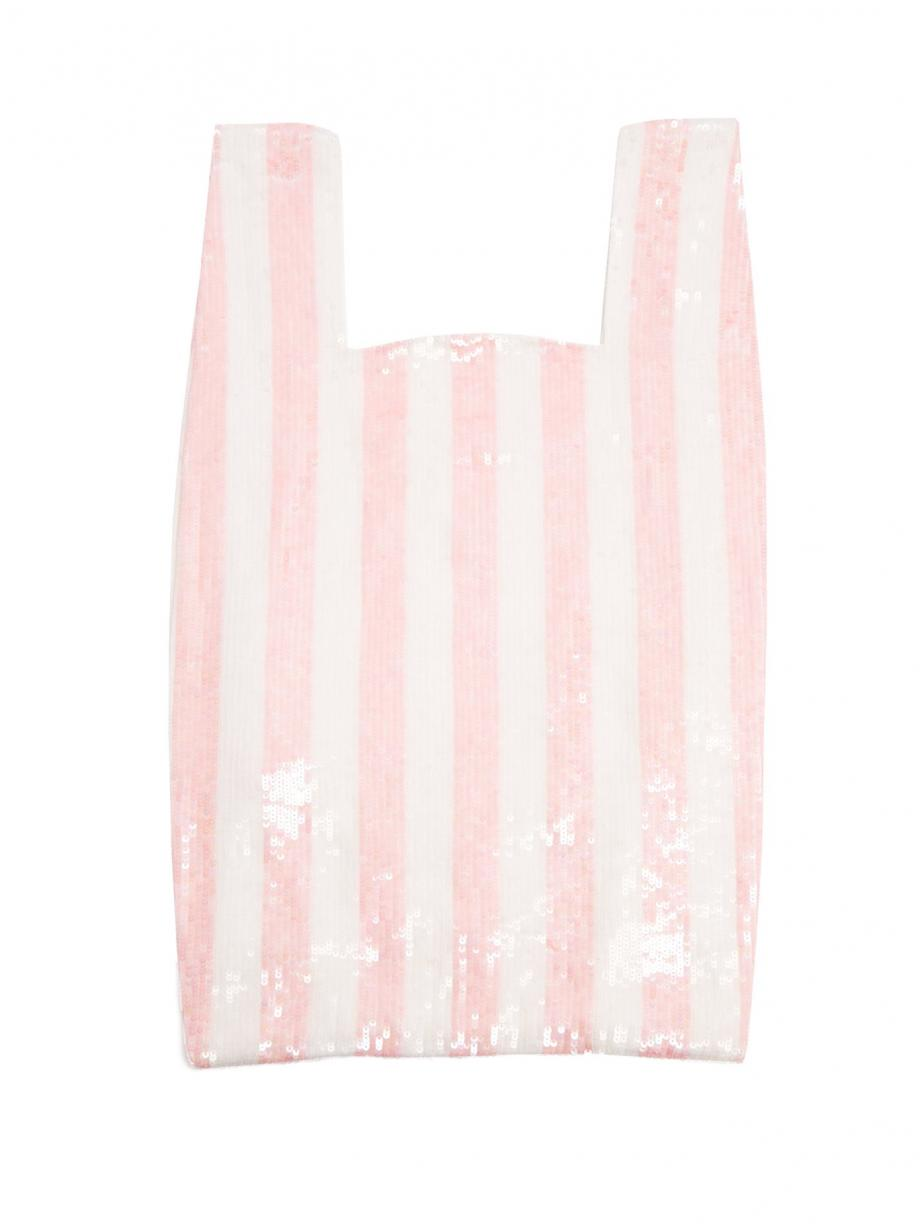 Pink Clutch – Ashish Womens Striped sequin-embellished cotton bag Baby-pink